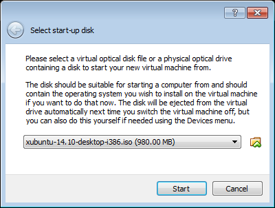 Figure 3. Select start-up disk dialogue box.